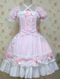 Sweet Pink Short Sleeves Bows Lolita Dress