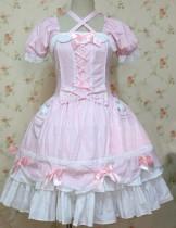 Sweet Pink Short Sleeves Bows Lolita Dress