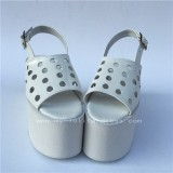 White High Platform Glossy Wine Lolita Shoes with holes