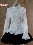 Cotton Tailored Light Purple Blouse -White L Free Shipping