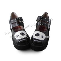 Black White Panda Girls Shoes