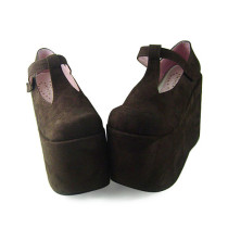 Dark Coffee Velvet Lolita Shoes