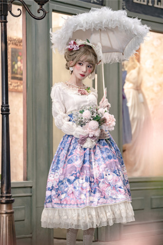 Miss Point ~ Elizabeth Meow ~ High Waist Lolita Blouse + Skirt -Custom-tailor Available