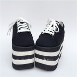 High Platform Black Canvas Shoes with Black White Soles