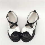 Sweet Black White Square Heels Lolita Shoes