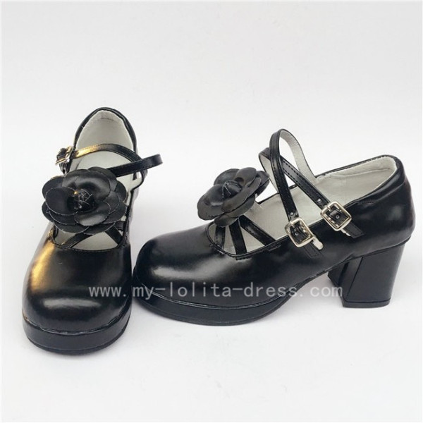 Sweet Black Matte Lolita Heels Shoes with Flowers