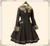 Lolita Princess Winter Single-breasted Long Coat&Fur Collar Cofffee With White Fur Size M - In Stock
