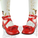 Black/White/Pink/Red Flat Heels Lolita Shoes