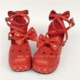 Dark Blue Bows Lolita Shoes