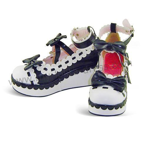 Blue White Bows Golf Style Lolita Shoes