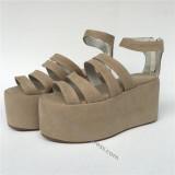High Platform Elegant Cream-coloured Velvet Lolita Shoes