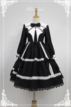 Devil Wing~ Gothic Long Sleeves OP Dress With Detachable Collar