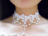 Adorable White Lace Beads Lolita Necklace