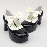 Coffee Bow Lolita Heels Shoes