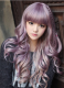 Sweet Purple to Rosy Brown Long Curls Lolita Wig