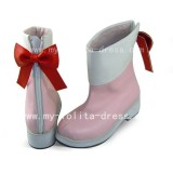 Sweet Pink and White Short Boots with Bows