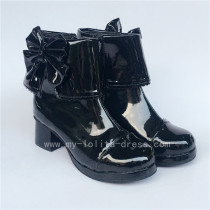 Black Bows Lolita Short Boots with Zipper