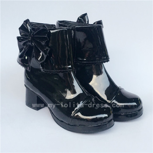 Black Bows Lolita Short Boots with Zipper