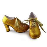 Beautiful Golden Yellow Yellow-gold Silver Heels Shoes