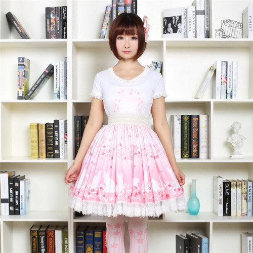 Cherry Blossoms And The Cat Lolita Skirt