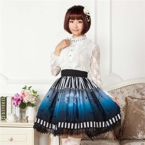 Bats at the Dark Night -Dark Blue Gothic Lolita Pleated Skirt - S In Stock