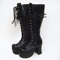 Black Bows Autumn Lolita Boots