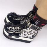 Gothic Punk Black Glossy Skull Lolita Boots