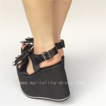 Black Matte Lolita Sandals with Tassels