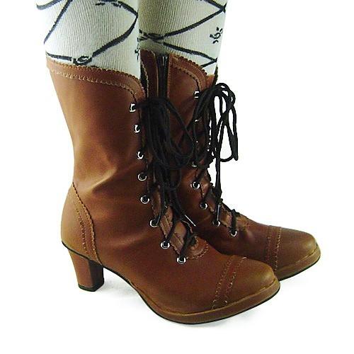 Coffee Straps Lolita Heels Boots