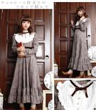 Vintage Elegant Gingham Mori Kei Dress