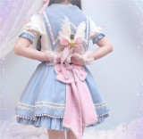 Rising Star ~Sweet Lolita Blouse - Ready Made Sax+Pink Bow Size M - In Stock