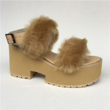 Sweet Imitate Bunny Furs Lolita Pink High Platform Sandals