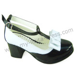 Black White T-Strap Shiny Lolita Shoes