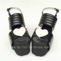 High Platform Black Matte with White Hearts Lolita Sandals