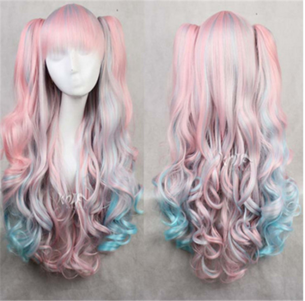 Pink to Blue Gradient Cosplay Long Curls Wig with Two Detachable Ponytails