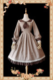 Infanta ~The Librarians~ Lolita Long Sleeves OP Light Brown Size XL - In Stock