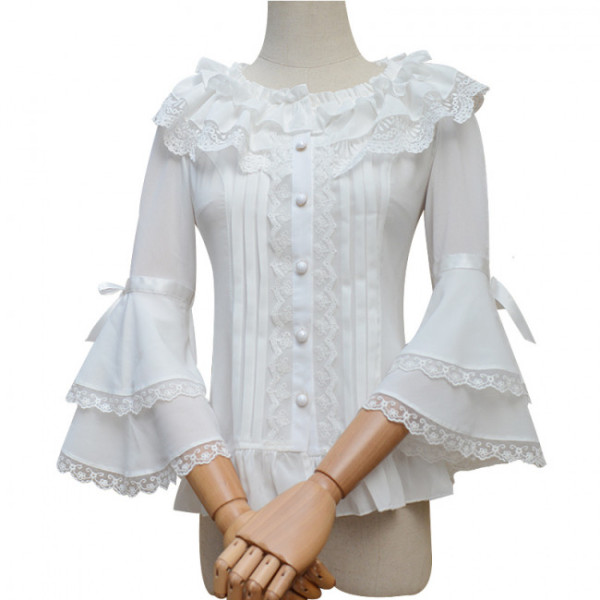 Sweet Chiffon Flare Sleeves Lolita Blouse