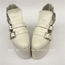 Unique High Platform White Matte Belts Buckles Lolita Shoes