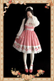 Strawberry Gingham Pure Cotton Lolita JSK Dress +Headbow