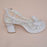 White Simplified Bow Lolita Sandals