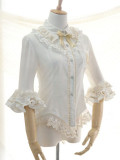 Vintage Swallowtail Chandelier Embroidery Chiffon Lolita Shirt 8 Colors -out