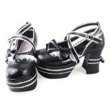 White Black Bows Trim Lolita Shoes