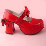 Red Shiny Bow Lolita Shoes