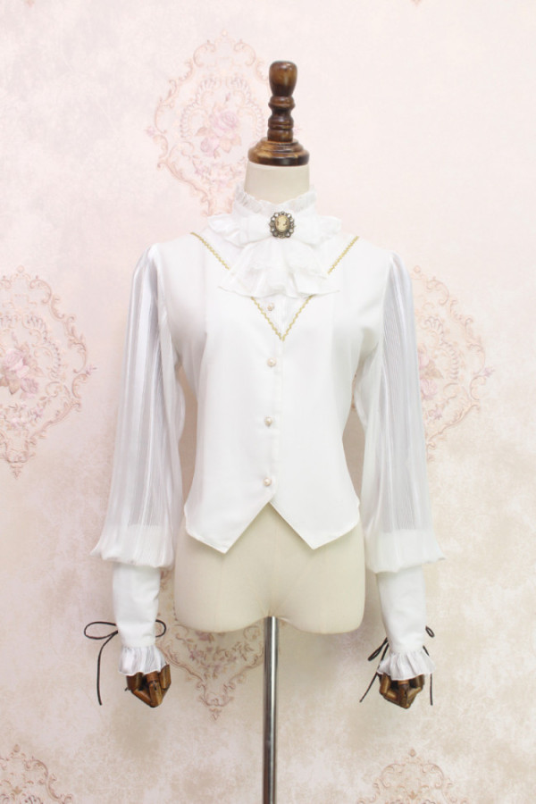 Alice Girl~ Steampunk Roll Collar Lolita Blouse- White M In Stock