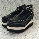 Unique Glossy Black Lolita High Platform
