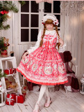 Strawberry Bunny~ Lolita Printed JSK Dress With Detachable Apron