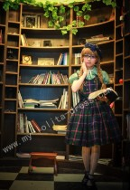 College School Black Green Tartan Lolita JSK