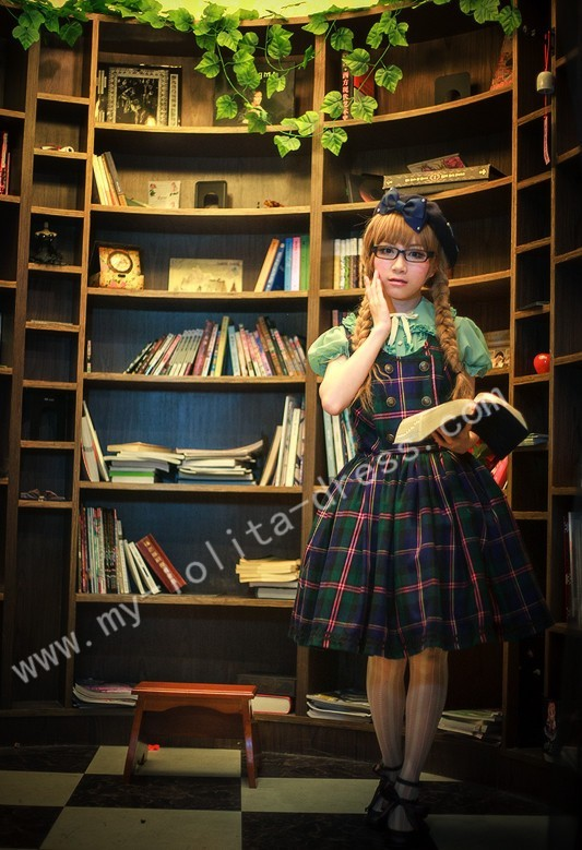 College School Black Green Tartan Lolita JSK