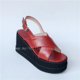 Colorful Real Leather Cross Belts Lolita Sandals