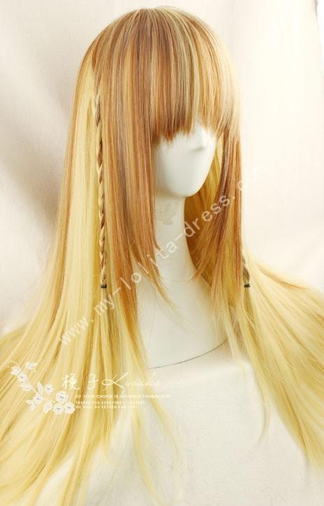 70cm Brown Pale Yellow Straight Lolita Wig